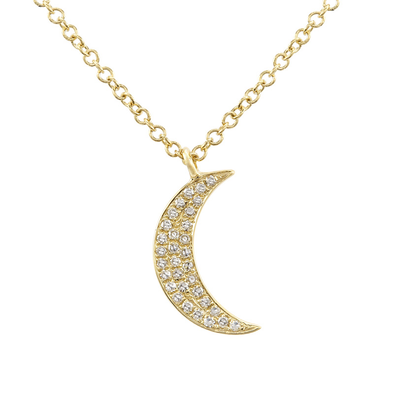 14K Yellow Gold Diamond Mini Moon Necklace