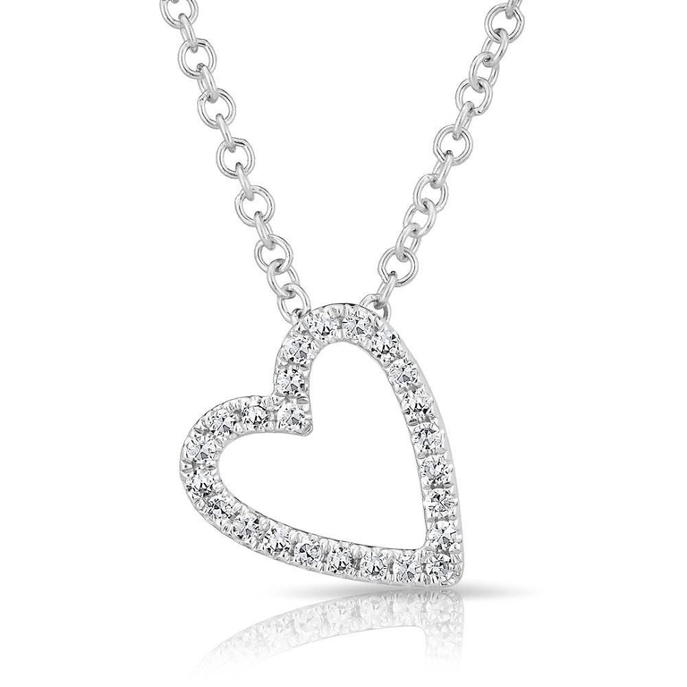 Diamond Mini Open Slanted Heart Necklace
