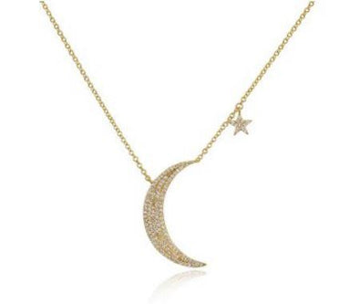 Yellow Gold 14K Diamond Moon and Star Necklace