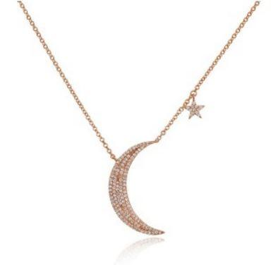 14K Rose Gold Diamond Moon and Star Necklace