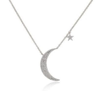 Diamond Moon and Star Necklace