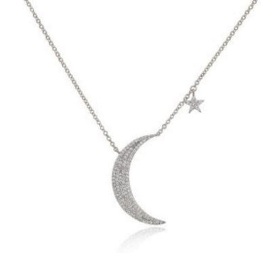 White Gold 14K Diamond Moon and Star Necklace