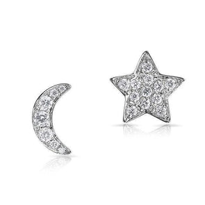 White Gold 14K Diamond Moon and Stars Stud Earrings