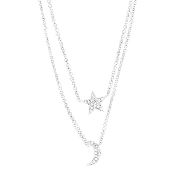 14K White Gold Diamond Moon & Star Double Necklace