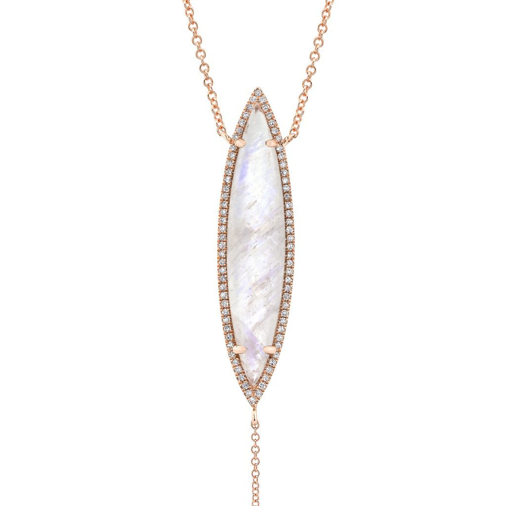 Diamond Moonstone Lariat Necklace
