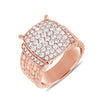 14K Rose Gold Diamond Mult-Row Rope Ring