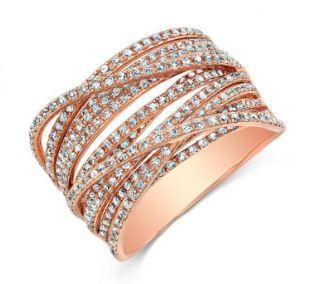 14K Rose Gold Diamond Multi Crossover Ring