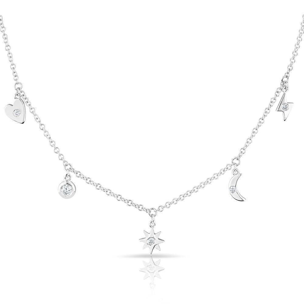 Diamond Multi-Dangling Charm Necklace