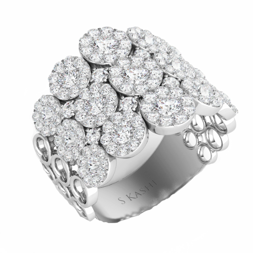 Diamond Multi Halo Fashion Ring