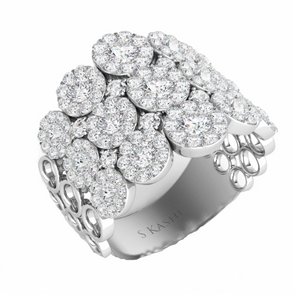 14K White Gold Diamond Multi Halo Fashion Ring