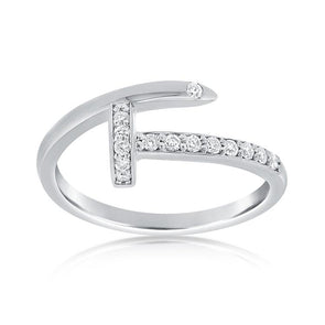 14K White Gold Diamond Nail Ring