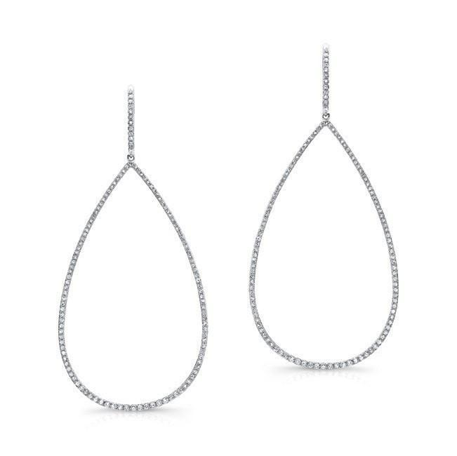 Diamond Open Pear Shape Dangle Earrings