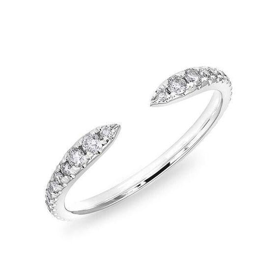 14K White Gold Open Diamond Ring