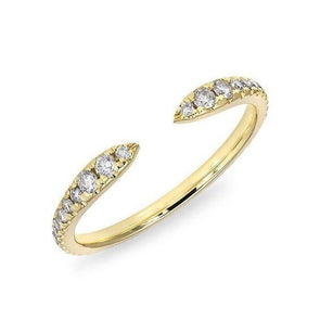 14K Yellow Gold Diamond Open Spike Ring