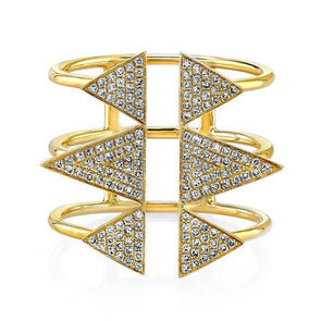 Yellow Gold 14K Diamond Open Triple Band Triangle Ring