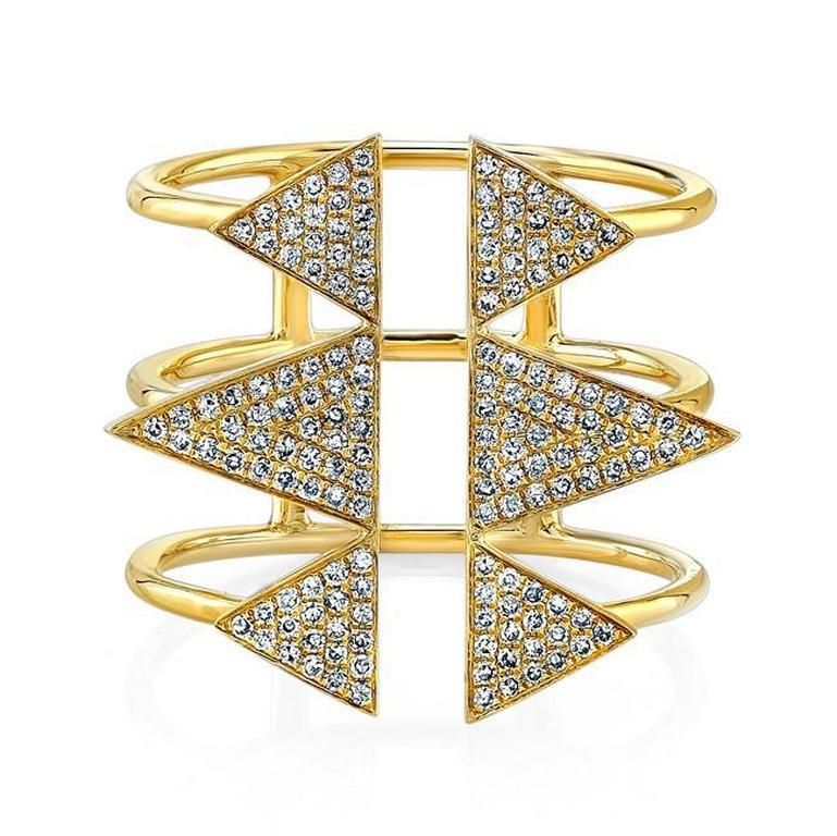 Diamond Open Triple Band Triangle Ring