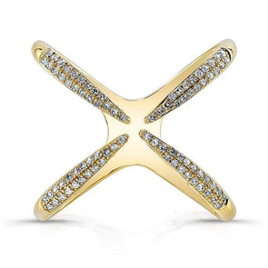 "Diamond Open ""X"" Ring"