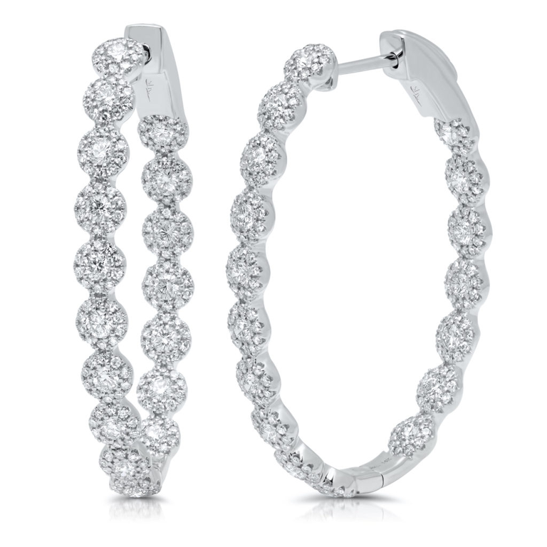 Diamond Oval Large Hoop Earrings