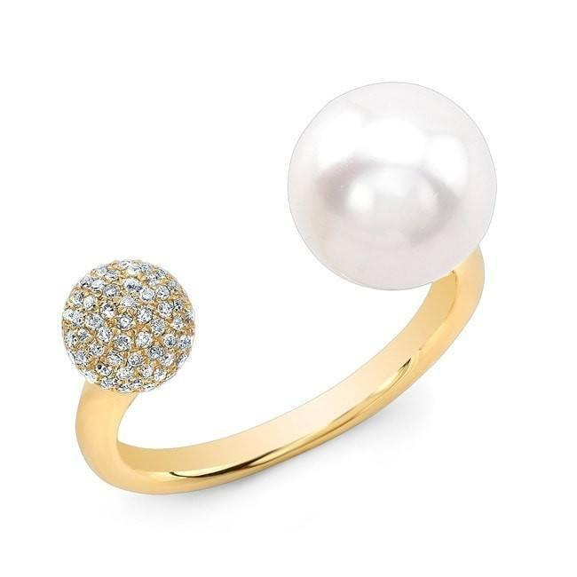 Diamond Pave Ball and Pearl Cuff Ring