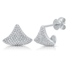 14K White Gold Diamond Pave Cuff Earrings
