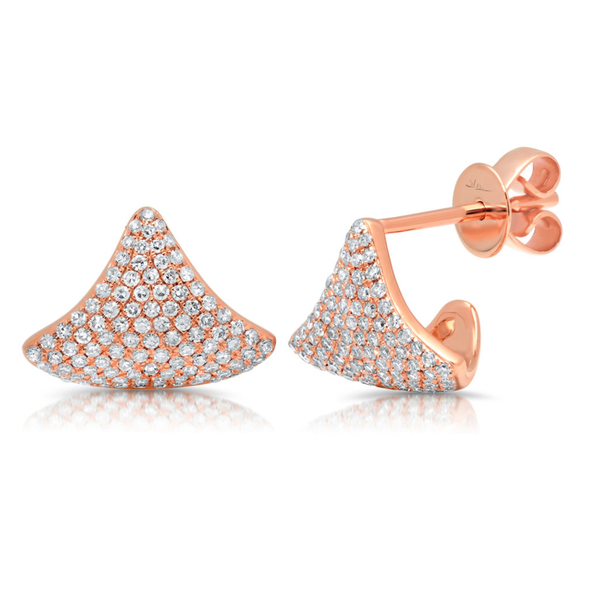 14K Rose Gold Diamond Pave Cuff Earring