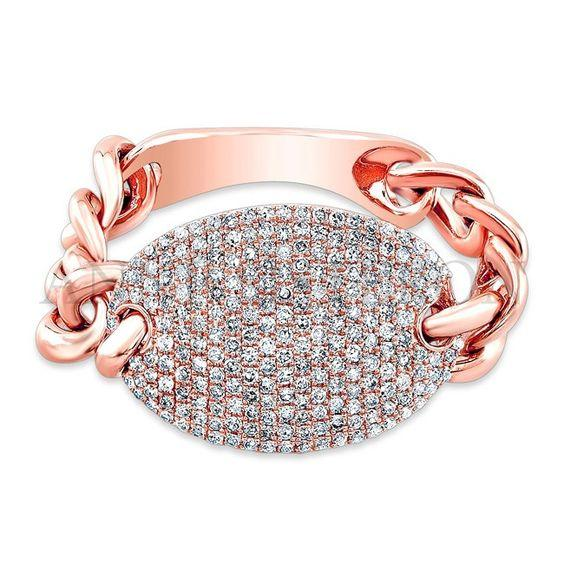 Diamond Pave Flexible Curb Link ID Ring