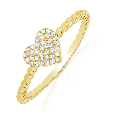 14K Yellow Gold Diamond Pave Heart Beaded Ring