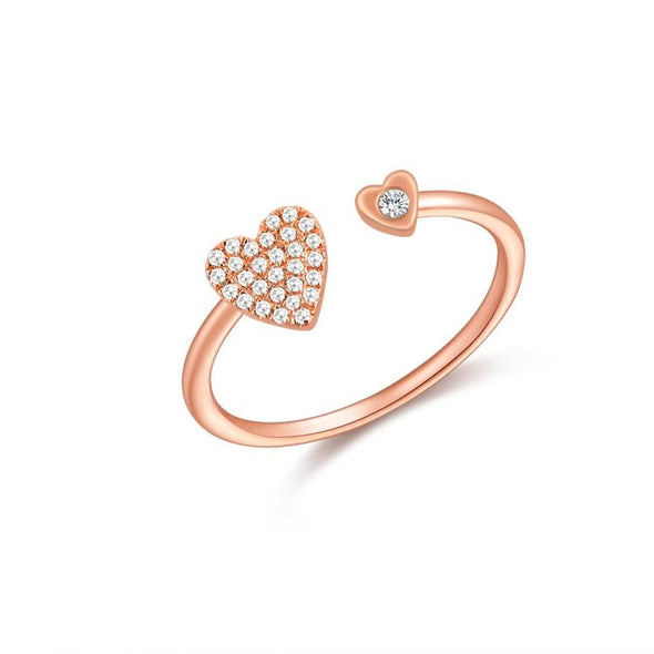 14K Rose Gold Diamond Pave Heart Open Cuff Ring
