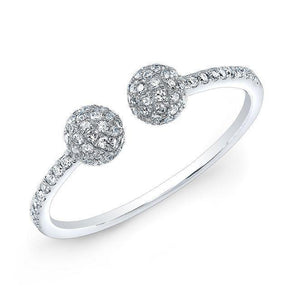 Diamond Pave Open Ball Cuff Ring