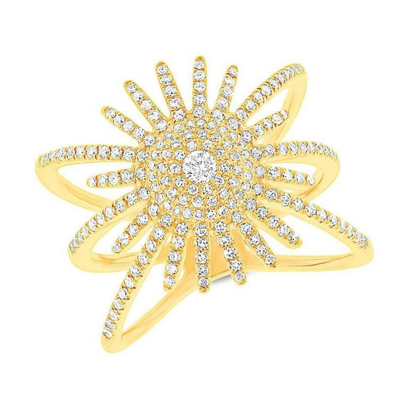 14K Rose Gold Diamond Pave Sunburst Ring