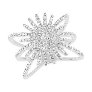 14K White Gold Diamond Pave Sunburst Ring