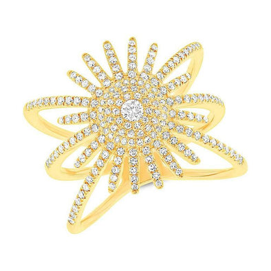 14K Yellow Gold Diamond Pave Sunburst Ring