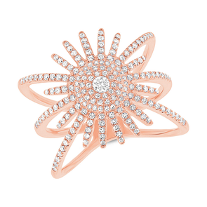 Diamond Pave Sunburst Ring