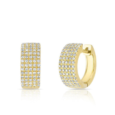 Diamond Pave Thick Huggie Earrings