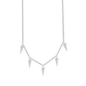 14K White Gold Diamond Pave Triangle Necklace