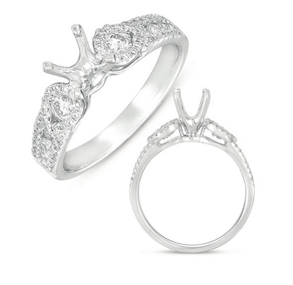 14K White Gold Diamond & Pear Halo Side Diamond Mounting