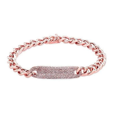 14K Rose Gold Diamond Plate Curb Link Bracelet