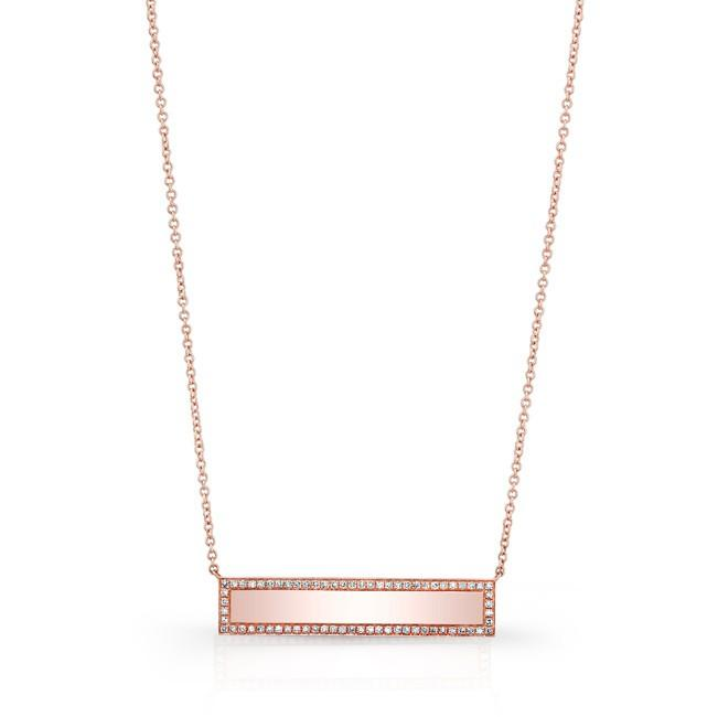 Diamond Polished Bar Necklace