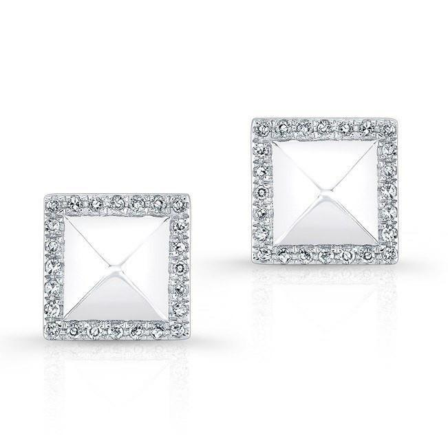 Diamond Pyramid Stud Earrings