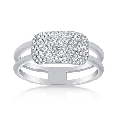 14K White Gold Pave Diamond Rectangle Bar Ring