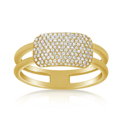 14K Yellow Gold Diamond Rectangle Bar Ring