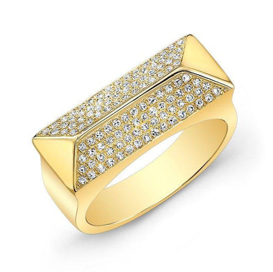 Diamond Rectangle Pyramid Ring