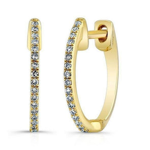 Diamond Single Row Petite Huggie Earrings