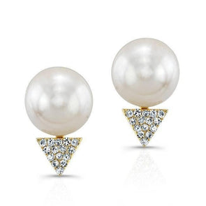 Diamond Spike and Pearl Earrings