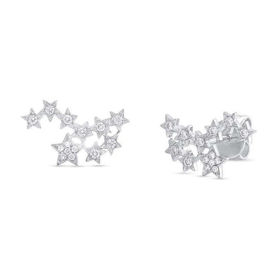 14K White Gold Diamond Star Constellation Earrings