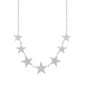 14K White Gold Diamond (7) Star Necklace