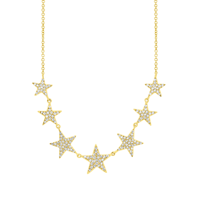 14K Yellow Gold Diamond (7) Star Necklace