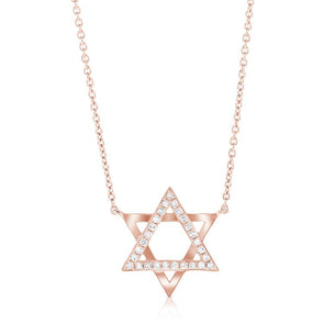 14K Rose Gold Diamond Star of David Necklace