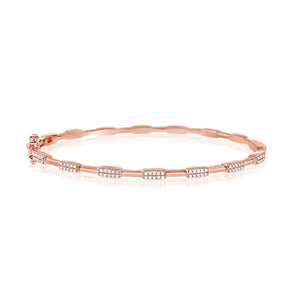 14K Rose Gold Diamond Station Hinged Bangle