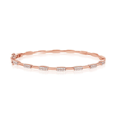 Diamond Station Hinged Bangle